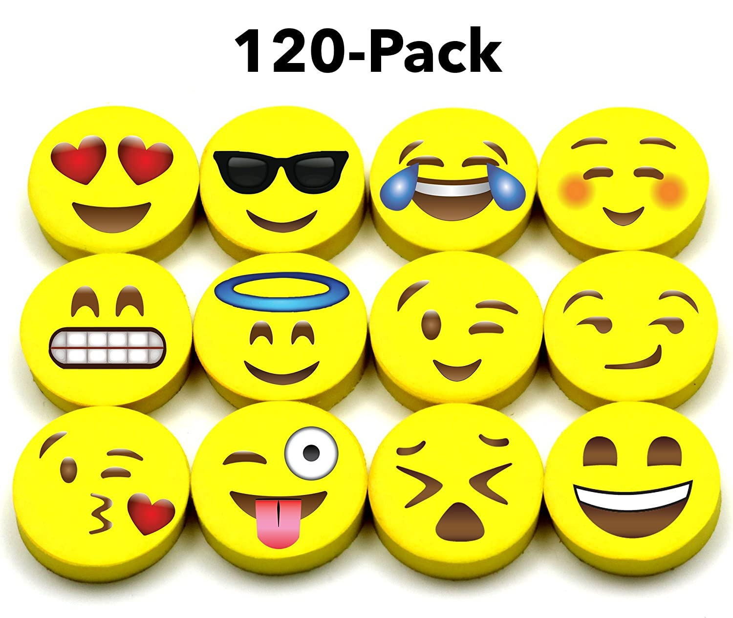 Emoji Pencil Erasers (120-Pack), Super Cute, Fun and Functional, Great as Gifts for Kids, Incentives, Prizes, Party Favors, Classroom Rewards and School Supplies - Erase Very Well, Child-Safe BPA Free
