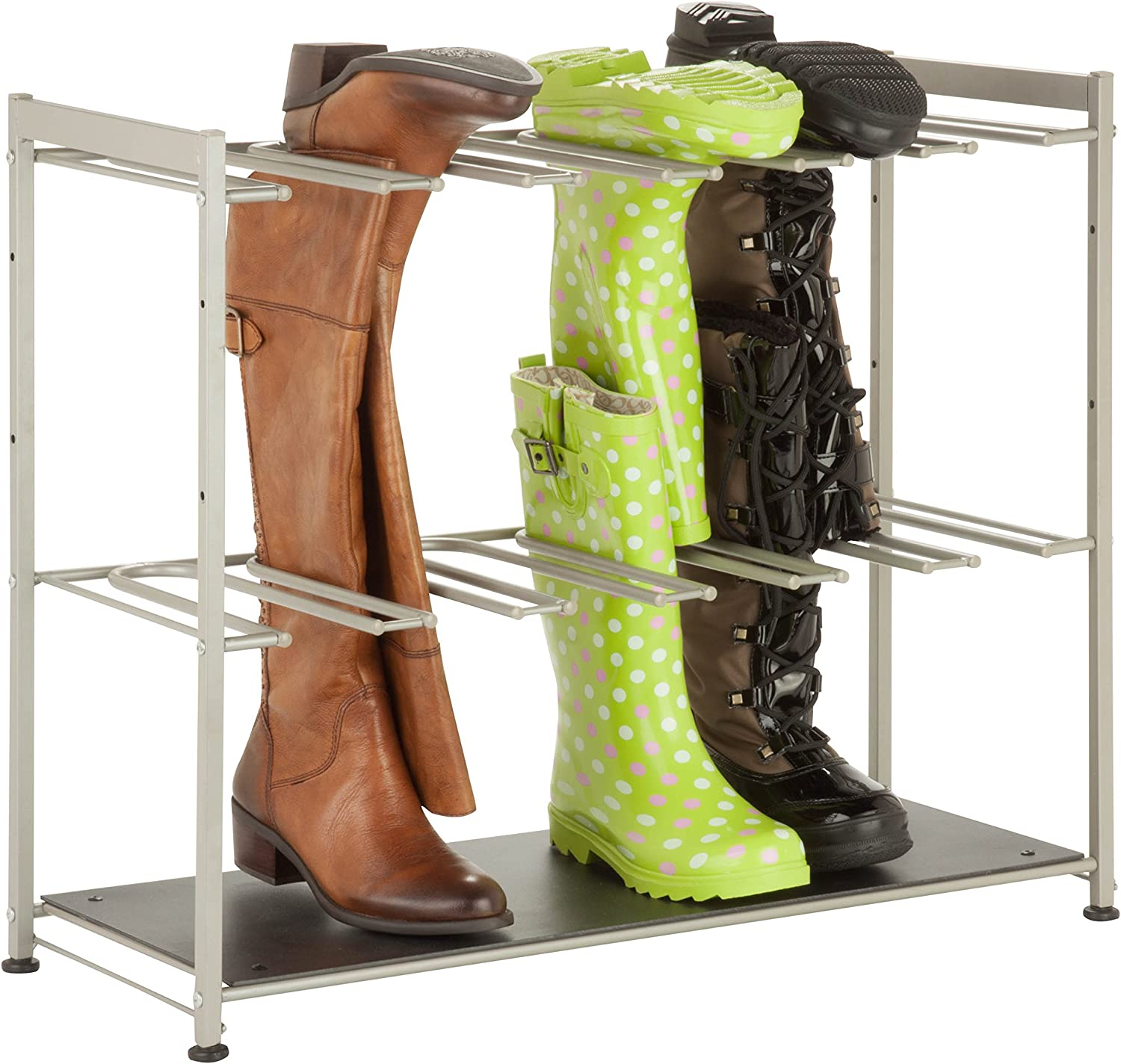 Amazon Com Honey Can Do Sho 02812 6 Pair Boot Rack 27 5 X 10 75 X 22 5 Silver Home Kitchen