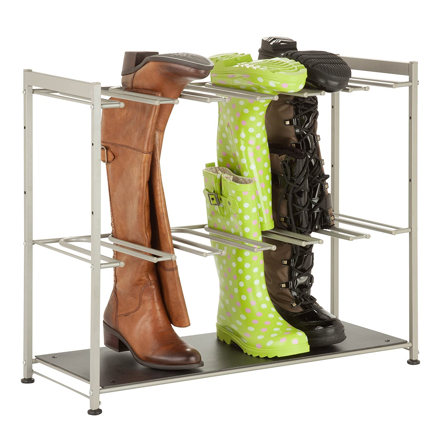 Honey-Can-Do SHO-02990 10-Tier Steel Rolling Shoe Tower, Holds Up to 50-Pairs, Chrome