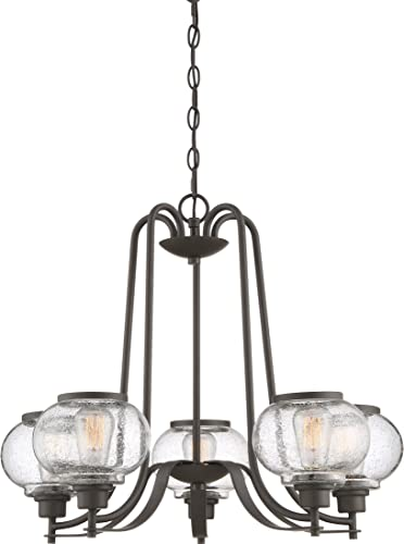 Quoizel TRG3005OZ Trilogy Glass Lantern Chandelier, 5-Light, 300 Watts, Old Bronze 22 H x 26 W