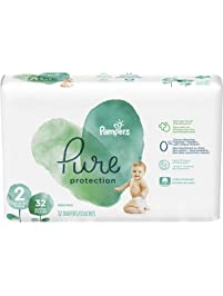 Diapers Size 2, 32 Count - Pampers Pure Disposable Baby Diapers, Hypoallergenic and Unscented Protection, ONE Month Supply