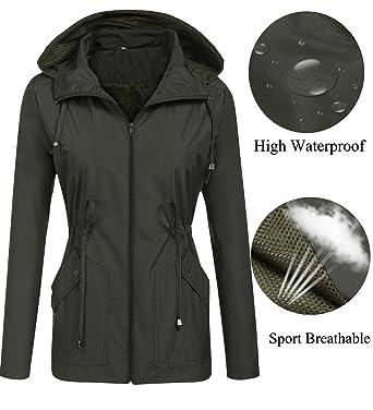 2b657fc710d LOMON rain Coats for Women wateproof Lightweight with Hood Zipper Packable  Travel Hiking