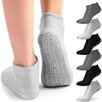 Non Slip Yoga Socks with Grips for Women | 6 Pairs Pilates, Dance & Pure Barre Sticky Socks