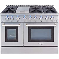 Thor Kitchen Gas Range with 6 Burners and Double Ovens, Stainless Steel - HRG4808U-1
