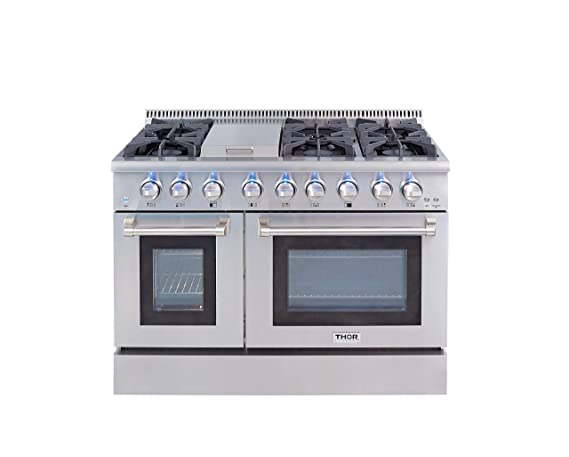 Thor Kitchen Gas Range With 6 Burners And Double Ovens Stainless Steel  HRG4808U