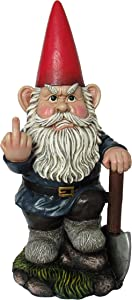 "DWK 8.75"" You Dig? Grumpy Garden Gnome Digging with Shovel Flipping The Bird Middle Finger Collectible Statue for Indoor Outdoor Summer Home and Garden Decor"