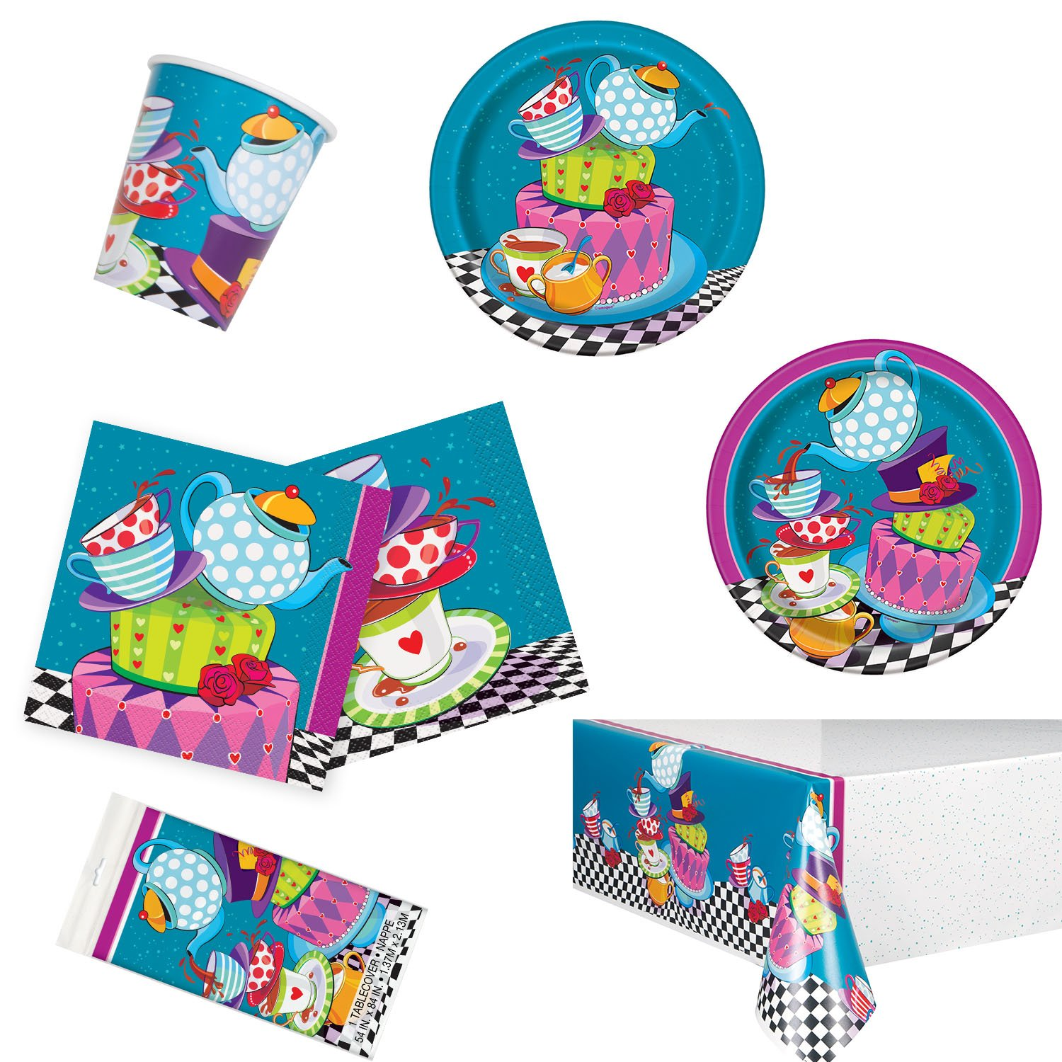 Unique Mad Hatter Tea Party Bundle | Luncheon & Beverage Napkins, Dinner & Dessert Plates, Table Cover, Cups | Great for Birthday Themed Parties