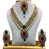 Shining Diva Gold Plated Kundan Pearl Party Wear Traditional Necklace Jewellery Set with Maang Tikka and Earring for Women