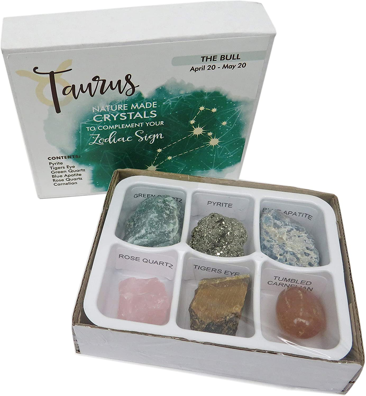 Rock Paradise Horoscope Stone Box Set - Taurus Zodiac Sign – Healing Crystals Birthstone Charms – Astrology Crystal Healing Horoscope Gift
