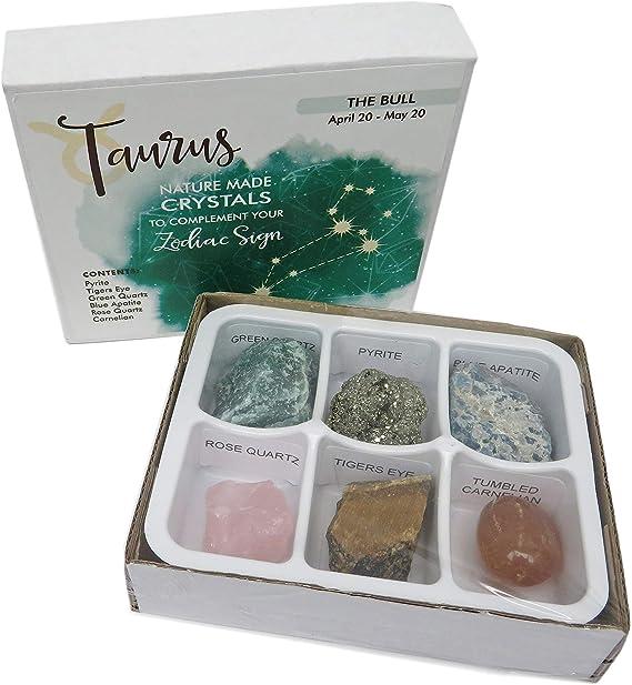 Taurus Zodiac Crystals with Handmade Zodiac Dish Healing Stones for You