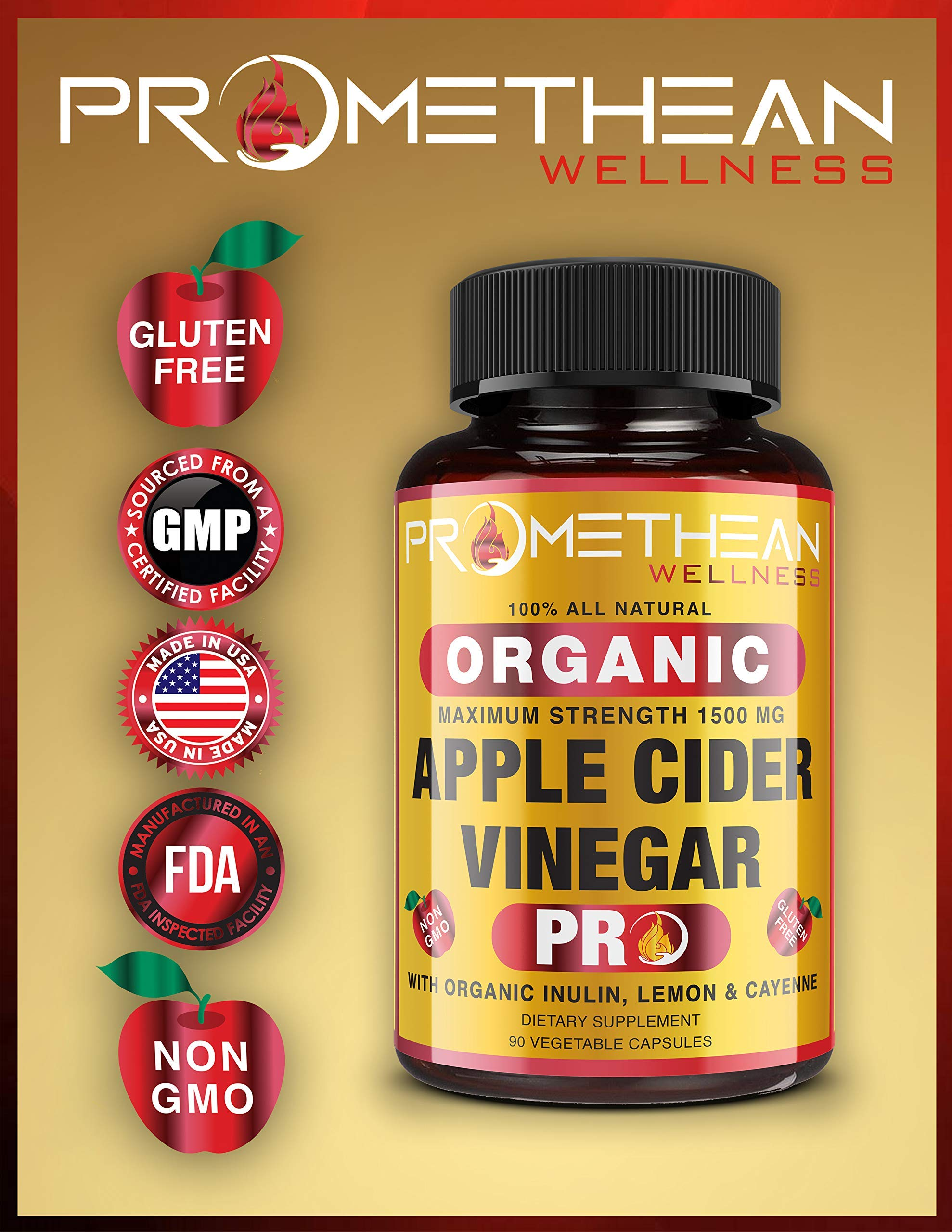 Organic Apple Cider Vinegar Capsules ACV PRO Diet Pills Detox Cleanse for Weight Loss Raw Unfiltered With Mother Powder Supplements Tablets Vitamins Cayenne Pepper Inulin Prebiotics Lemon 1500mg 90 ct by Promethean Wellness LLC (Image #4)