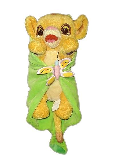 Doudou peluche Simba el rey León protectora hoja verde 28 cm Disney Babies Disneyland