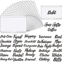 49 Pieces A6 Binder Pockets Binder Zipper Folders Cash Envelope Labels Stickers Budget Envelopes Labels for Budget…