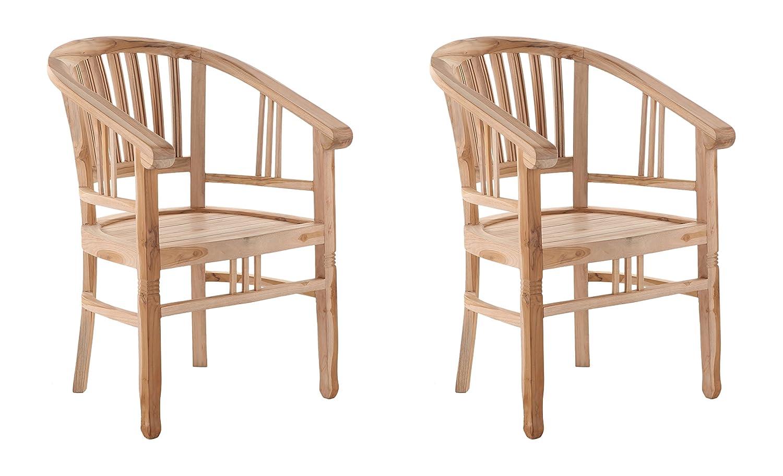 Amazon.de: SAM 2er Set Teak-Holz Massiv Gartensessel Moreno, Stuhl ...