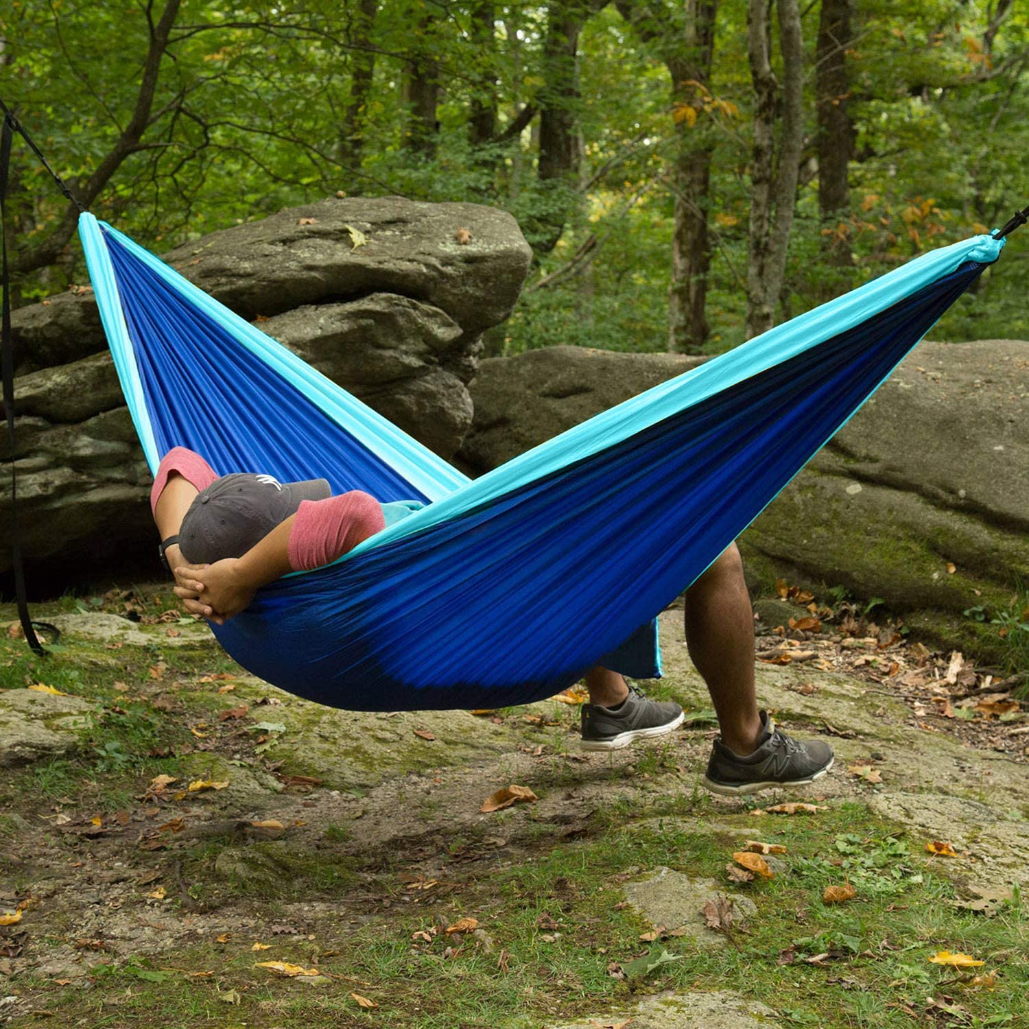 AlexBasic Camping Hammock Double Indoor Outdoor Hammocks with 2 Tree Straps, 500lbs Capacity Hammock, Lightweight Nylon Taffeta Hammocks for Camping, Tree, Travel, Hiking, Backpacking