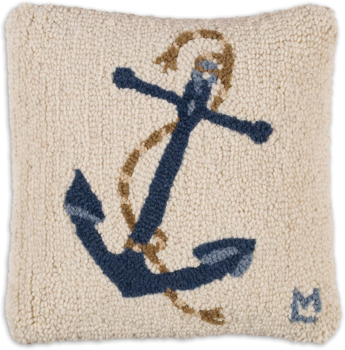 Chandler 4 Corners Artist-Designed Blue Anchor Hand-Hooked Wool Decorative Throw Pillow 14 x 14