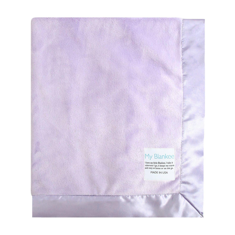 My Blankee Minky Throw Blanket with Flat Satin Border, Lavender, 52'' x 60''