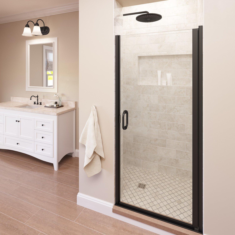 Semi-Frameless Shower Door Basco Infinity 27-28 in Width Silver Finish AquaGlideXP Clear Glass