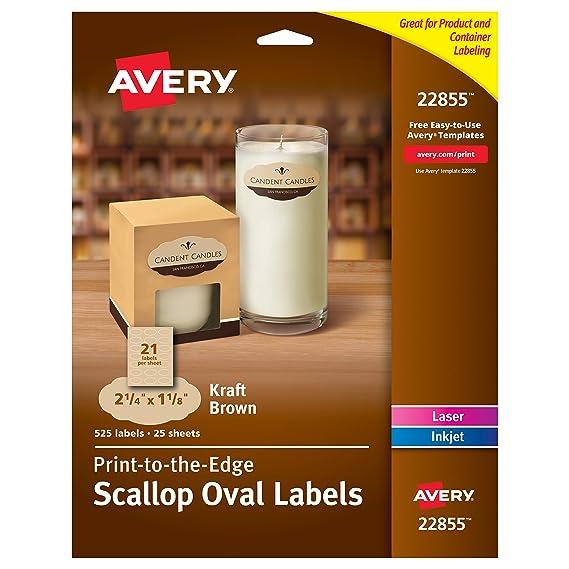 Amazon Avery Print To Edge Kraft Brown Scalloped Labels 2 14