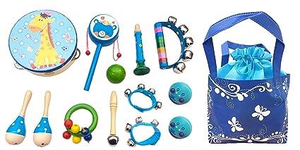 De Sonido Musicales Juguetes Bebé Instrumentos Hit Juegos Cabrito Del 13pcs Regaloazul Madera iXOkPZu