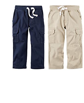 43af6ae4c Amazon.com: Carter's Toddler Boys 2 Pack Soft Canvas Pants Navy ...