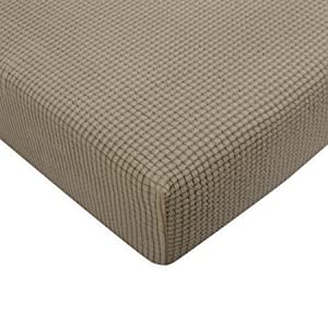 Subrtex Spandex Elastic Couch Stretch Durable Slipcover Furniture Protector Slip Cover for Settee Sofa Seat (Chair Cushion, Sand),