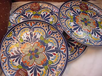 Palm Restaurant Medallion Melamine Indoor/Outdoor Dinner Plates Set of 4 & Amazon.com | Palm Restaurant Medallion Melamine Indoor/Outdoor ...