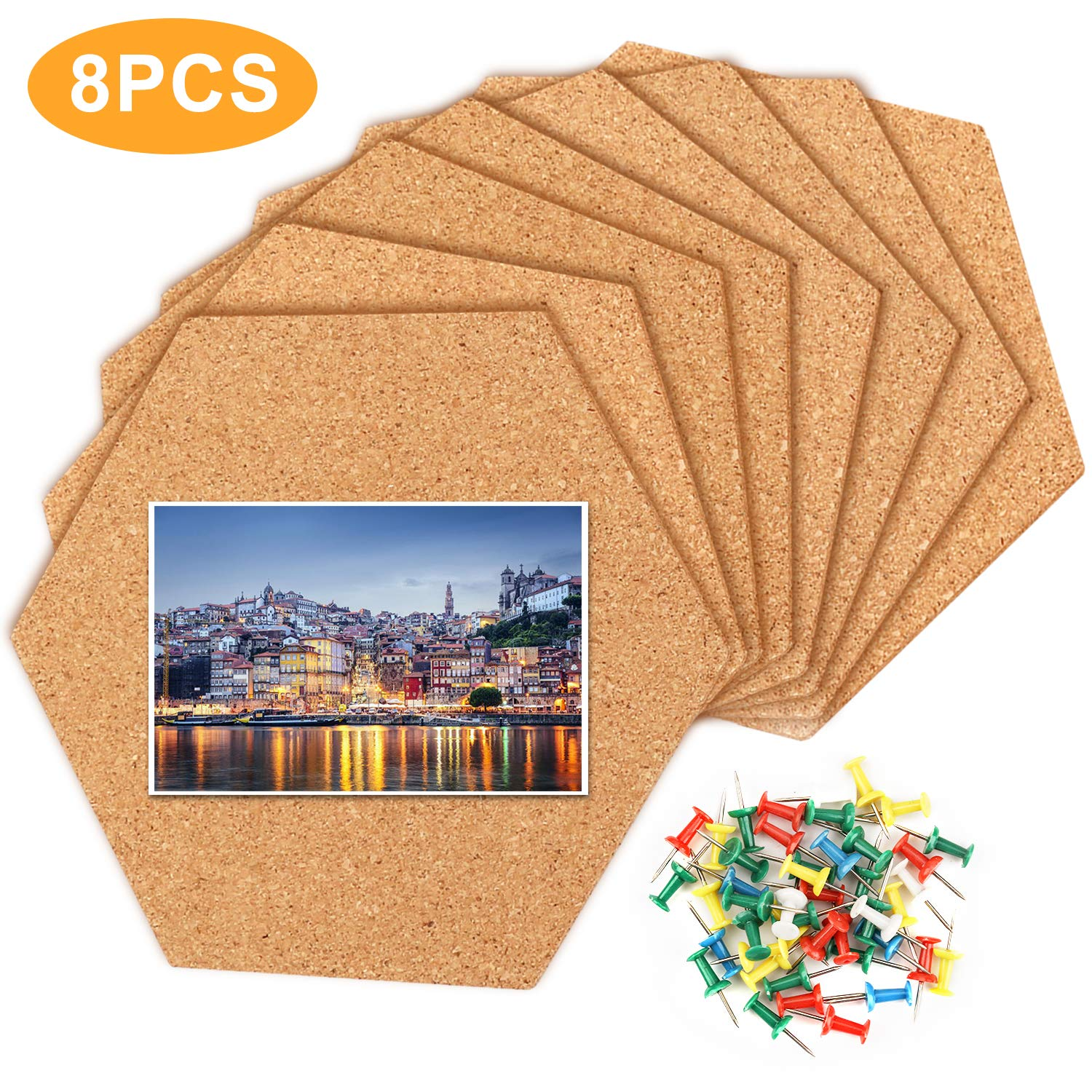8 Pack Cork Board Tiles Hexagon Cork Tiles Self Adhesive With 90 Pcs