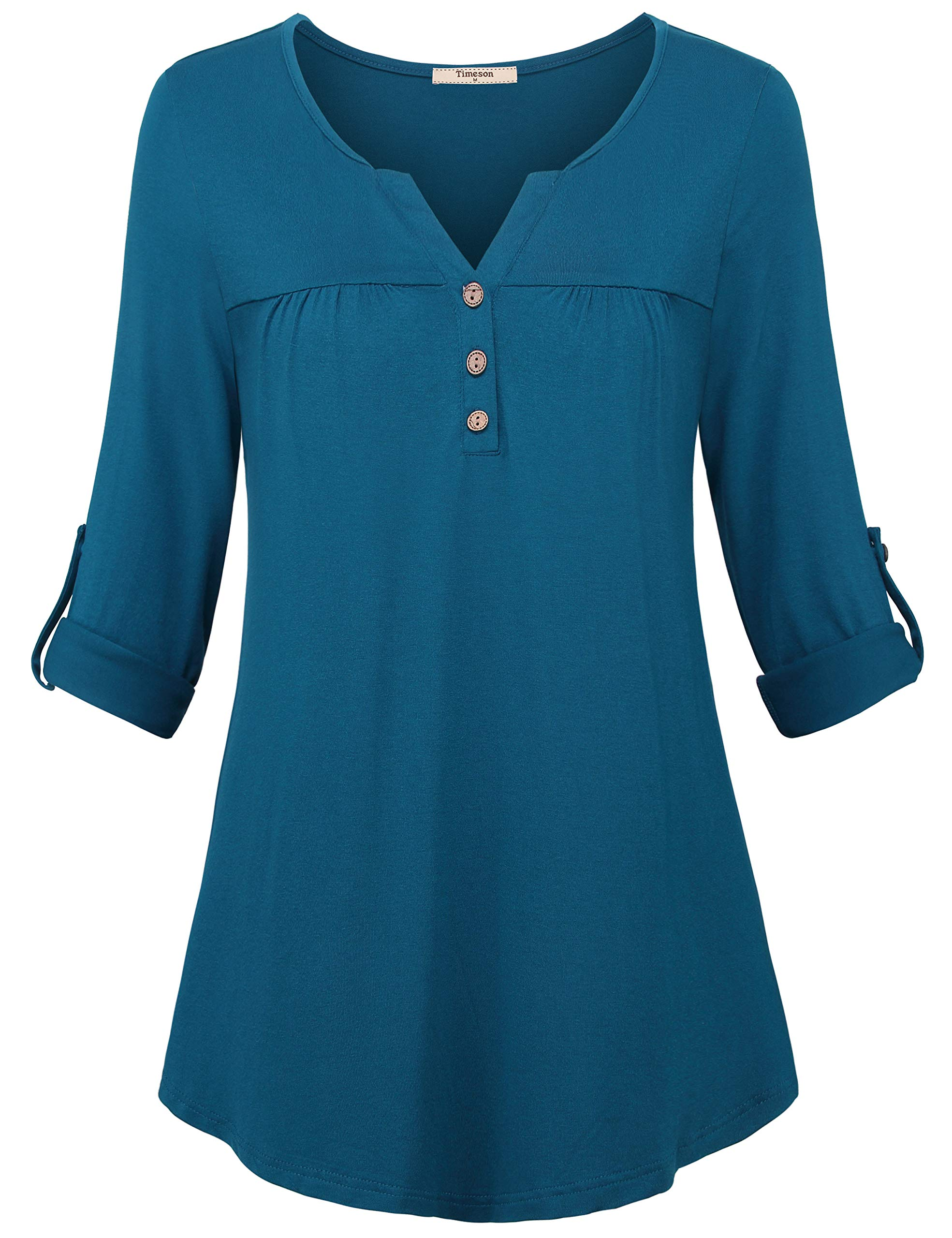 Timeson 3/4 Sleeve Tunic Tops, Women's Long Sleeve Tunics Shirts Henley V Neck Blouses A Line Fitted Dressy Tops to Wear with Leggings Cyan Medium