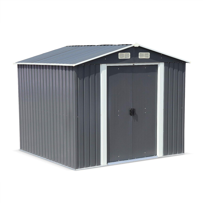 Abri de Jardin en métal - Artois 5m² Anthracite - Cabane à Outils avec Deux Grandes Portes coulissantes, kit de Fixation Sol Inclus, Maison de Rangement, Remise