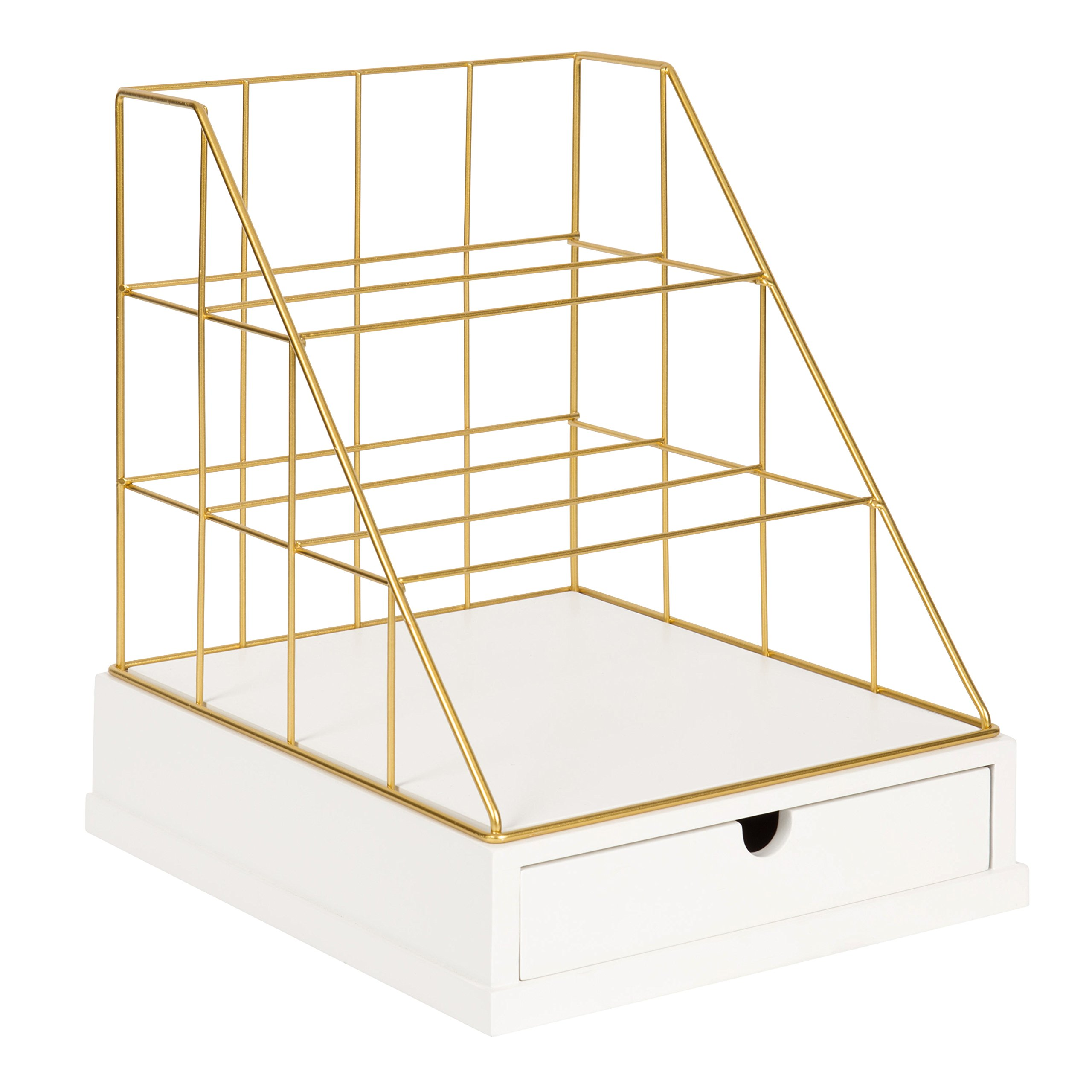 Kate and Laurel Benbrook Metal and Wood Letter Tray Desk Organizer, White and Gold by Kate and Laurel