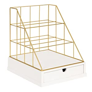 Kate and Laurel Benbrook Metal and Wood Letter Tray Desk Organizer, White and Gold