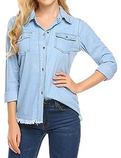 Soteer Womens Casual Long Sleeve Turn-Down Collar Solid Cotton Denim Shirt  Blouse 1271bf8de158
