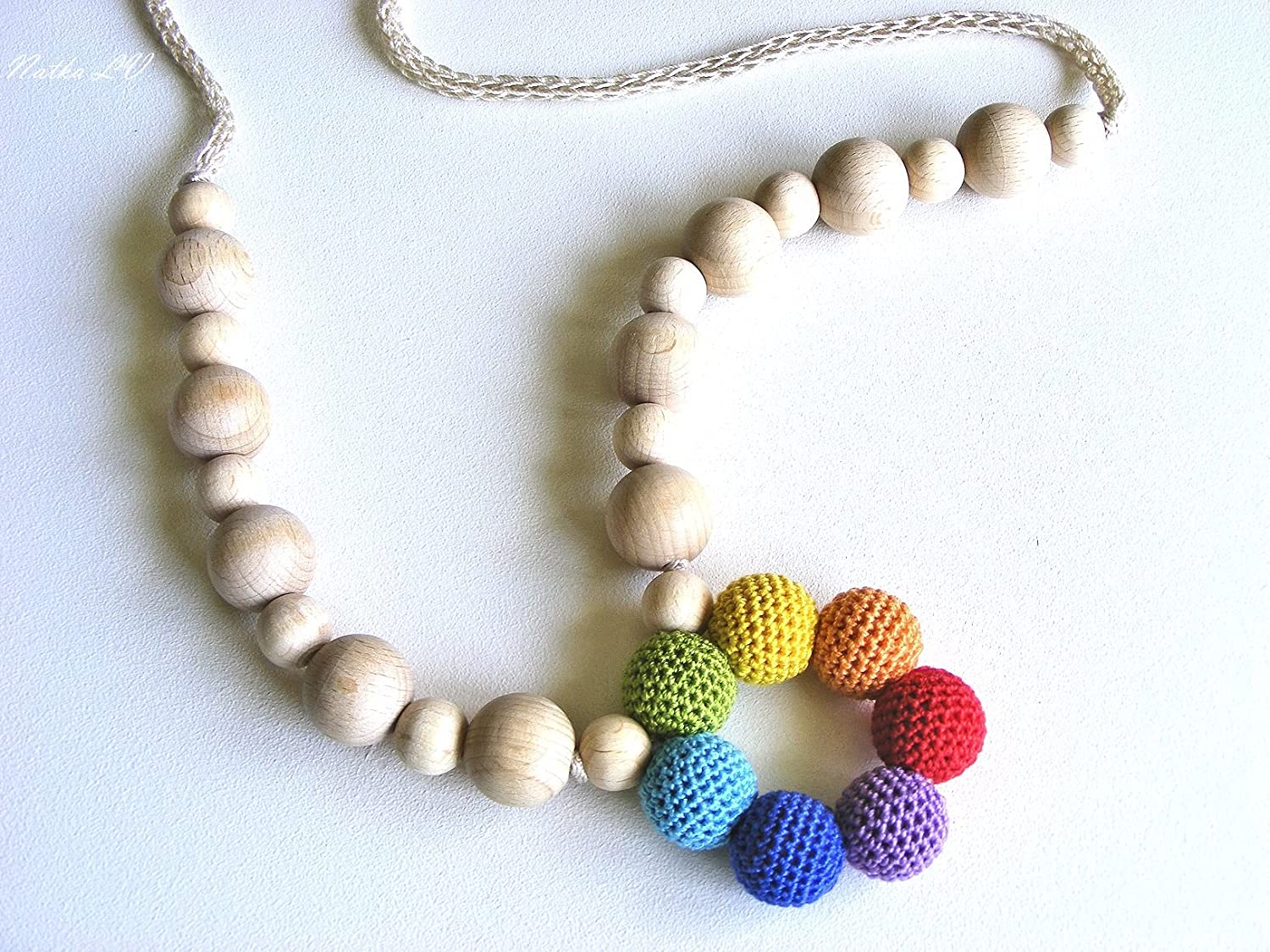 Simple rainbow nursing necklace, multicolor teething necklace, breastfeeding necklace, wooden crochet baby toy, natural teething ring