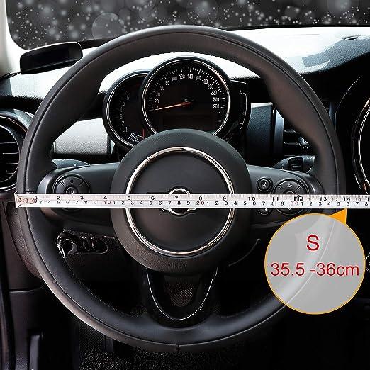 COFIT Couvre Volant Gris et Noir Microfibre Cuir Diam/ètre S 35.5-36 cm