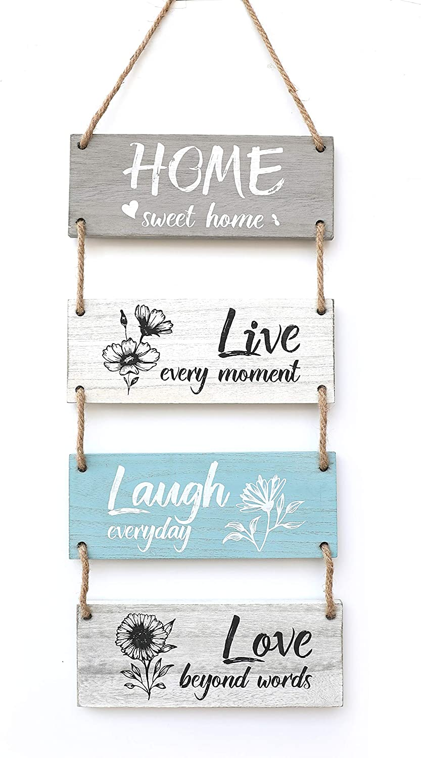 Rustic Wall Hanging Plaque Sign - Home Live Laugh Love, Farmhouse Wall Decor, Motivational Gifts Positive Wall Sign with Inspirational Saying Quotes Wall Decor for Home, Kitchen and entryway