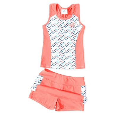 Girls' Tennis 2 Piece Breathable Dress Set - with Navy Or Coral Sleeveless Racerback Top and Tennis Skirt with Undershorts
