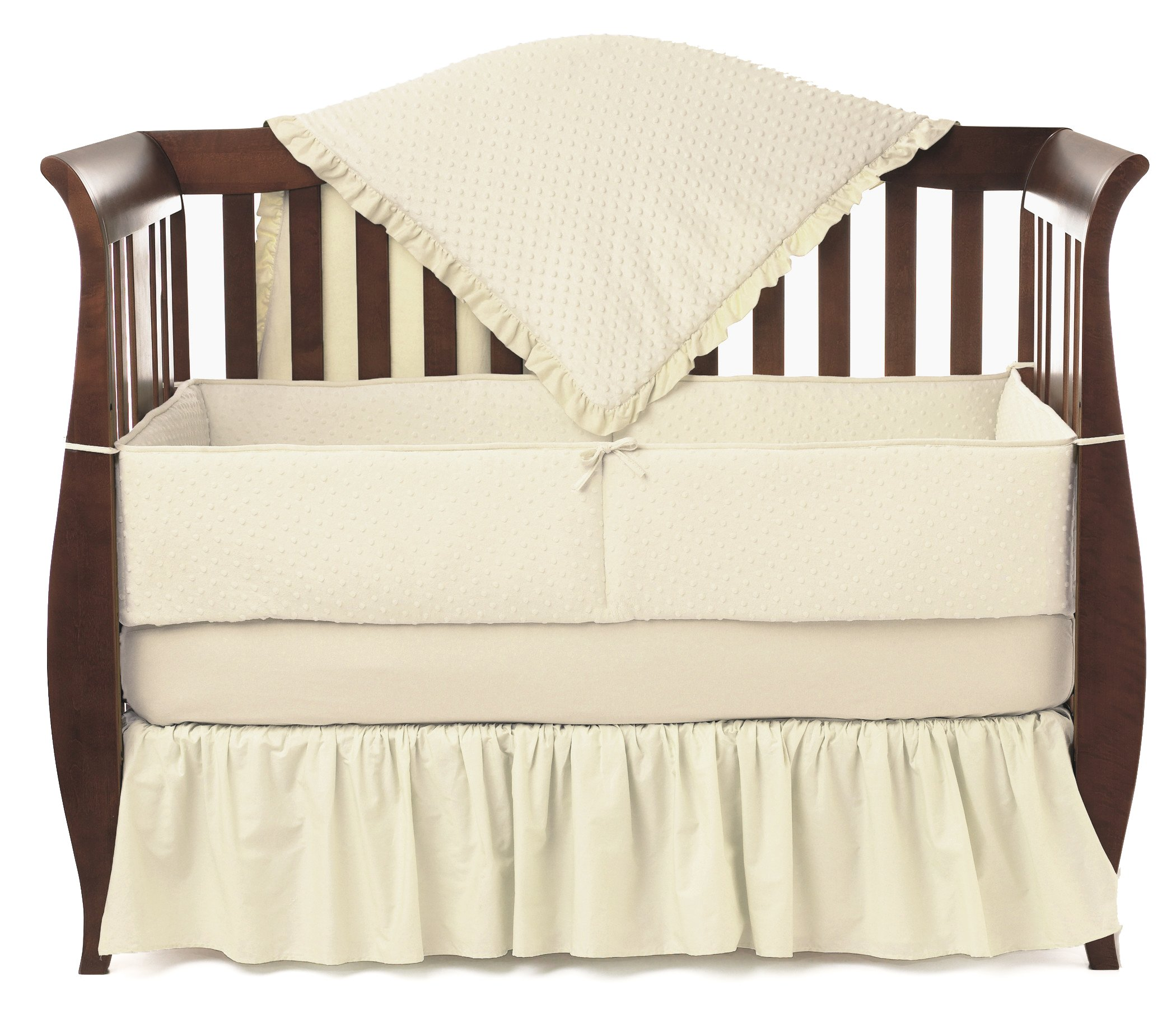 American Baby Company Heavenly Soft Minky Dot 4-Piece Crib Bedding Set, Ecru
