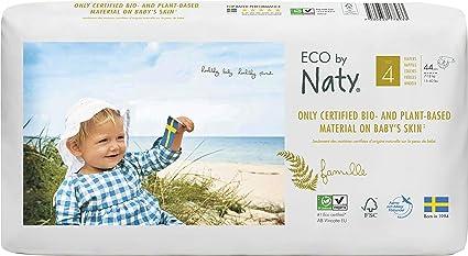 Pañales desechables Eco by Naty Premium para piel sensible, tamaño 4, 7 – 18