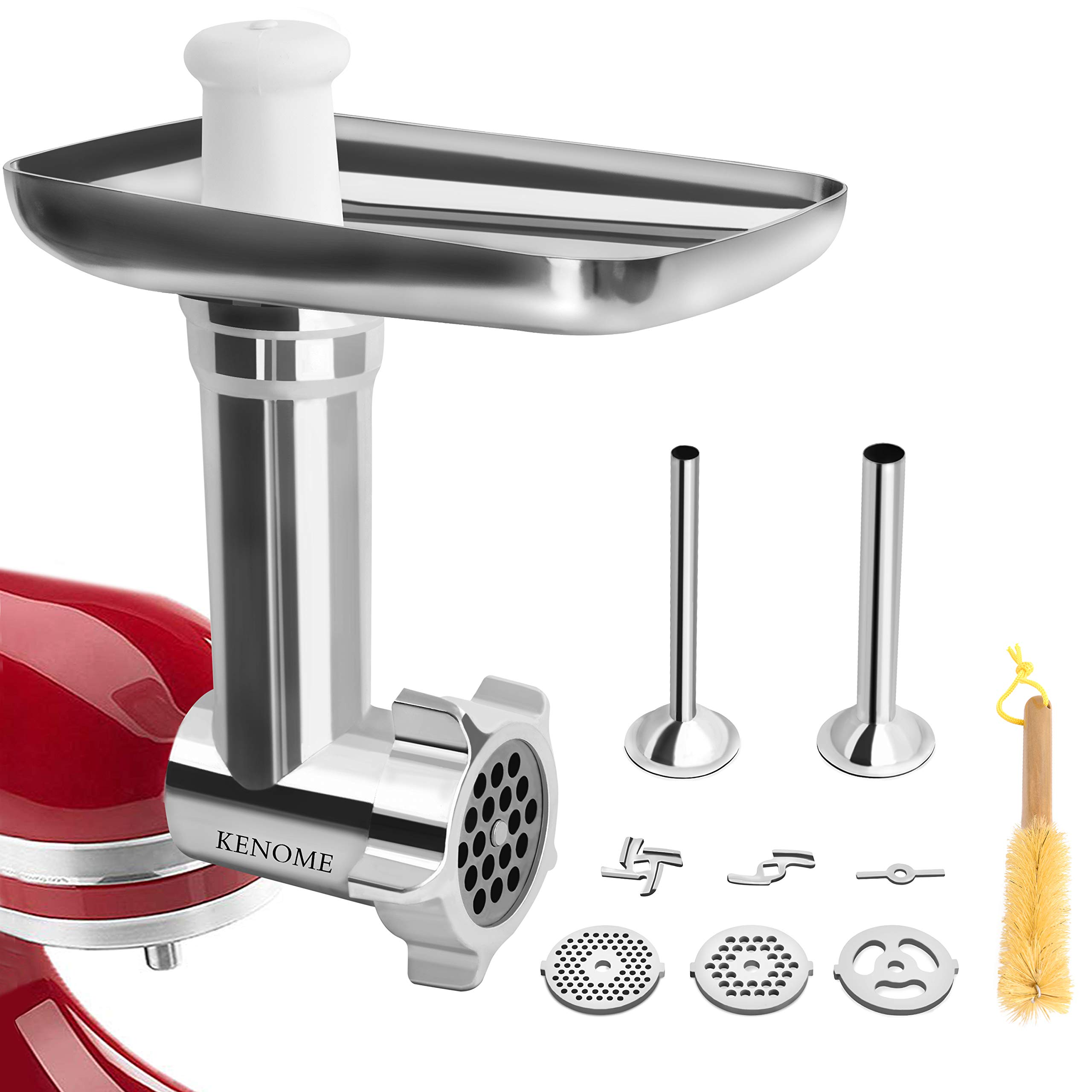 Metal Food Grinder Attachment for KitchenAid Stand Mixers Includes 2 Sausage Stuffer Tubes,Durable Meat Grinder Attachment for kitchenAid,Sliver by KENOME