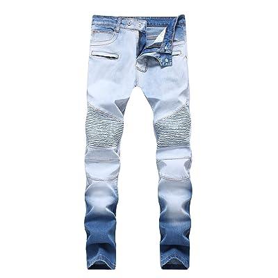 838183d0739b AACFCHAIN Men's Blue Vintage Biker Moto Slim Washed Straight Fit Skinny  Jeans With Zipper