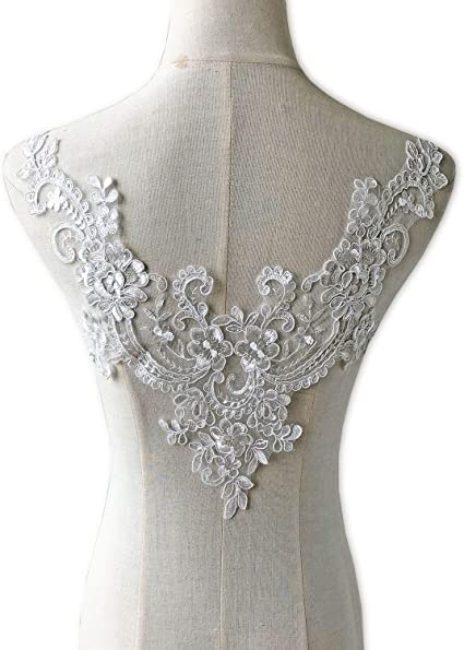 Lace Material Applique Swirl Applique Bridal Applique White Lace Applique Small Lace Patch Light Ivory Lace Applique Floral Applique