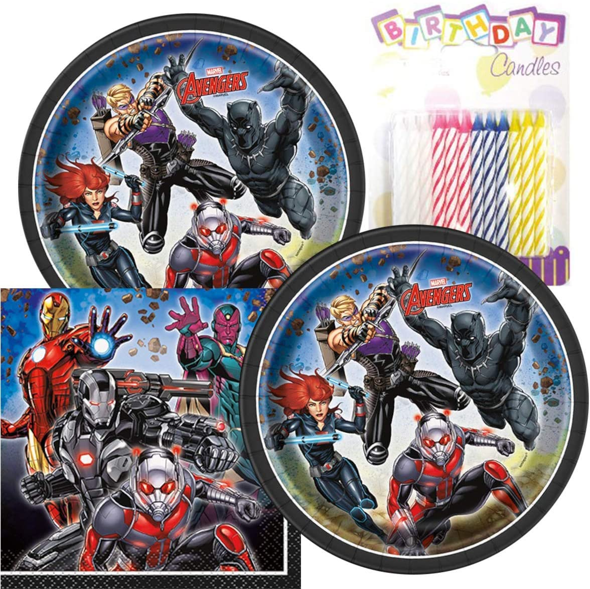 """Avengers Birthday Party Pack – Includes 7"""" Paper Plates & Beverage Napkins Plus 24 Birthday Candles – Serves 16"""