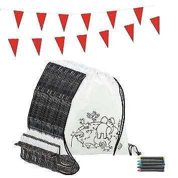 Piñatas de Cumpleaños Infantiles Partituki. 10 Mochilas de Colorear, 10 Sets de 5 Ceras de Colores y una Guirnalda de 10 m. Ideal para Detalles ...