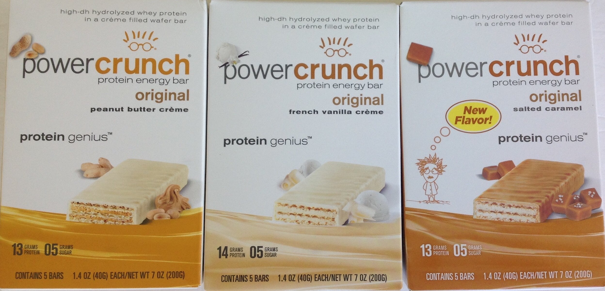 BioNutritional Research Group- Power Crunch Variety 3 Pack: Peanut Butter, French Vanilla Creme, and Salted Caramel