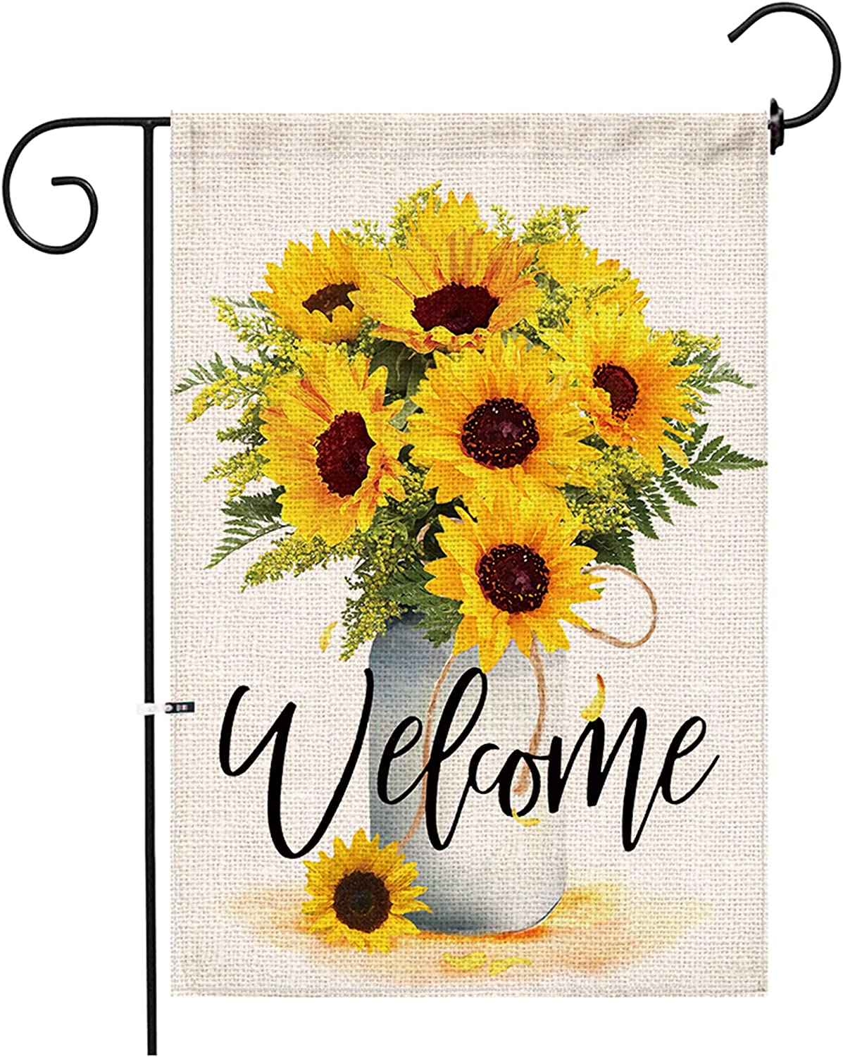 Hexagram Sunflower Arrangement Vase Welcome Garden Flag Double Sided,Burlap Summer Fall Farmhouse Outdoor Welcome Garden Decor,Small Garden Flag 12x18 Prime