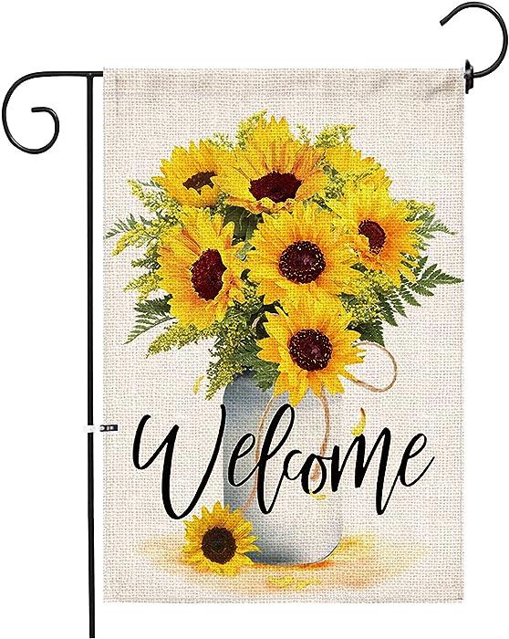 Hexagram Sunflower Arrangement Vase Welcome Garden Flag Double Sided,Burlap Summer Fall Farmhouse Outdoor Welcome Garden Decor,Small Garden Flag 12x18 Prime