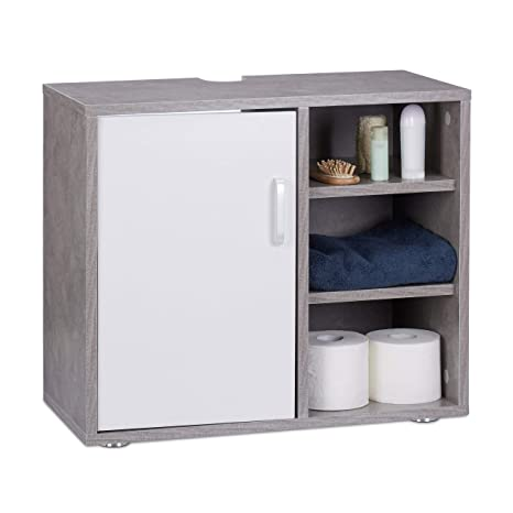 Relaxdays Mueble Lavabo con Pie y 3 Compartimentos, DM, Gris, 51 x 60