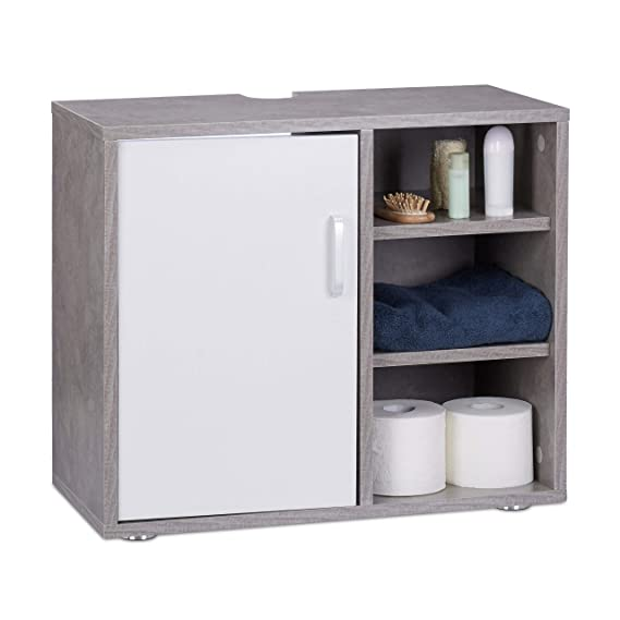 Relaxdays Mueble Lavabo con Pie y 3 Compartimentos, DM, Gris, 51 x 60 x 32 cm: Amazon.es: Hogar