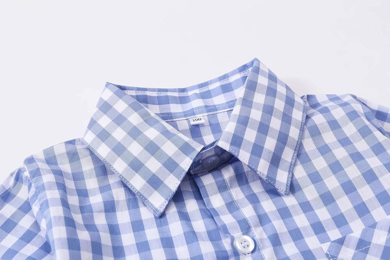 DAIMIDY Boys Plaid Shirt /& Suspender Shorts Set 2-8 Years